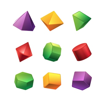 Geometric shapes in 3d effect