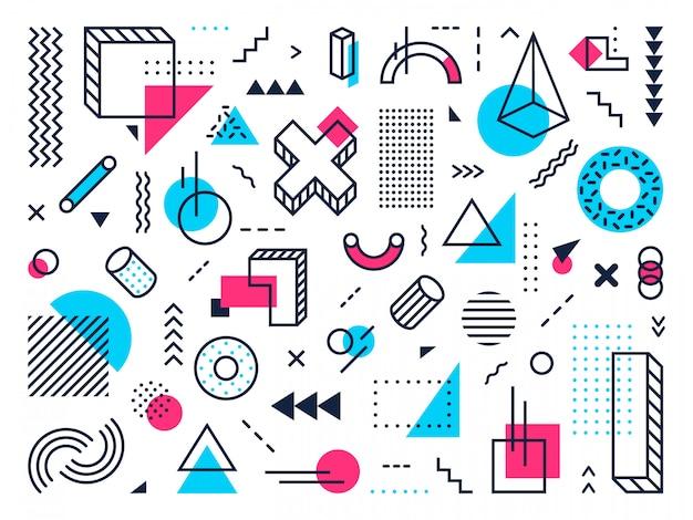 기하학적 모양. 추상 멤피스 스타일, 포인트 그리드 및 라인 패턴 기호. 색상 최소한의 포스터 요소 벡터 세트