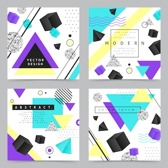 Geometric shapes background banner set