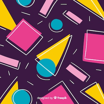 Geometric shapes background eighties style