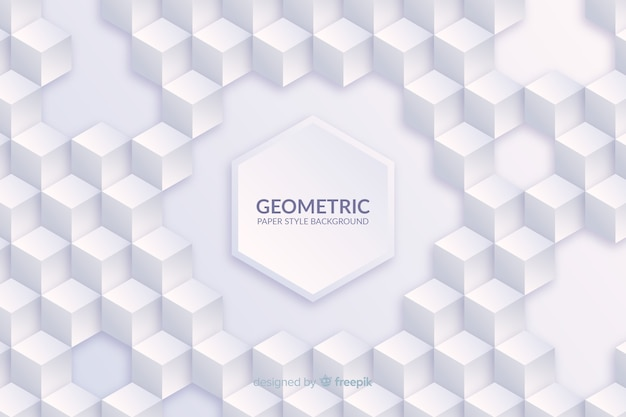 Geometric shapes background in paper style Premium Vector