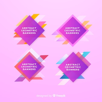 Geometric shapes banner collection