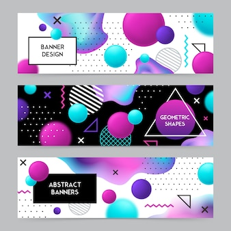 Geometric shapes banners background set