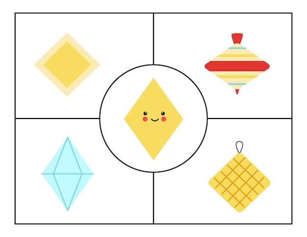 Geometric shapes for children. flashcards for learning shapes. rhombus.