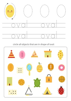 Geometric shapes for children. worksheet for learning shapes. trace oval.