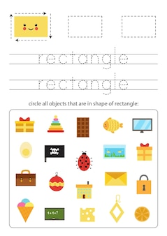 Geometric shapes for children. worksheet for learning shapes. trace rectangle.