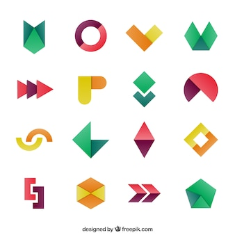 Geometric shapes in colorful style
