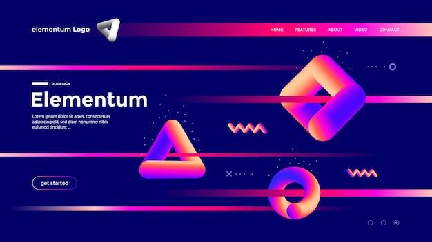 グラデーションカラーの幾何学的形状構成デザイン。抽象的な未来的なランディングページテンプレート。