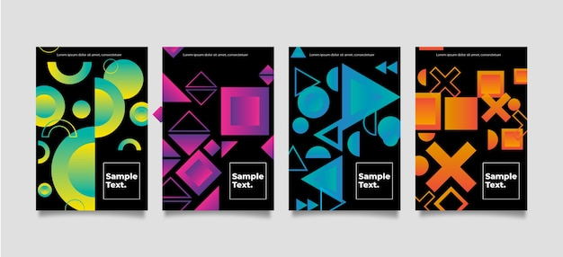 Geometric shapes covers on dark background