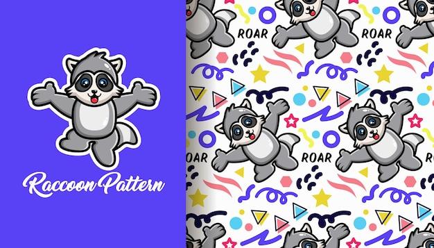 Geometric shapes cute raccoon pattern