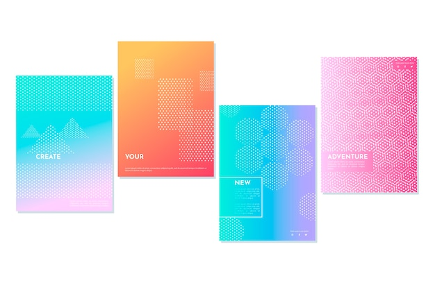 Geometric shapes in dots halftone gradient cover collection