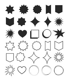 幾何学的形状要素のデザインセット。