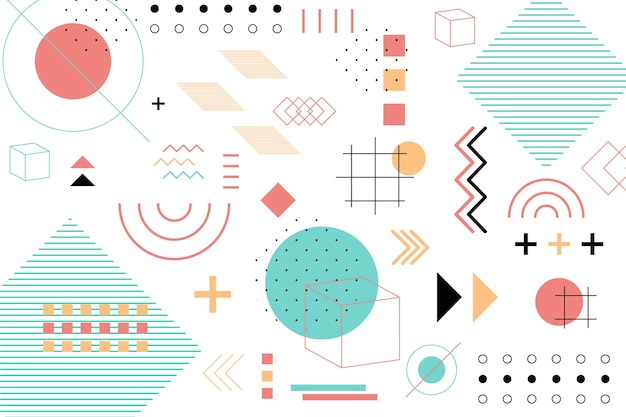 Geometric shapes flat background