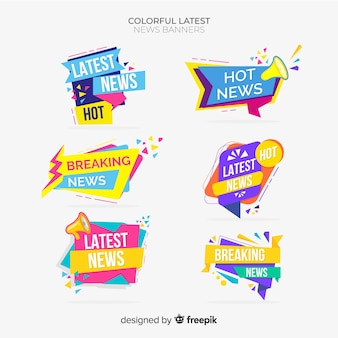 Geometric shapes flat latest news banner set