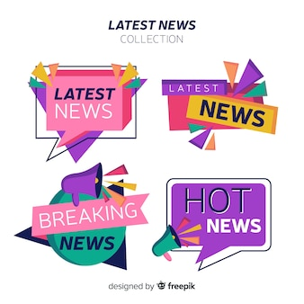 Geometric shapes flat latest news banner set
