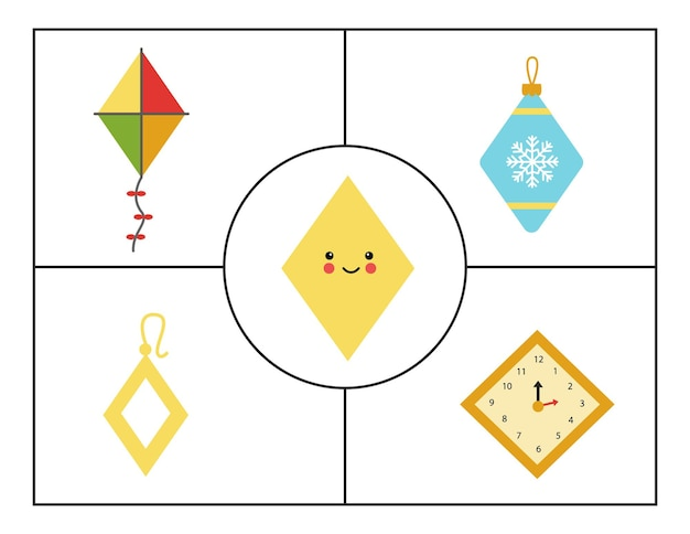 어린이를 위한 기하학적 모양. 도형 학습을 위한 플래시 카드. 마름모.