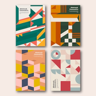색상의 기하학적 모양 표지 컬렉션