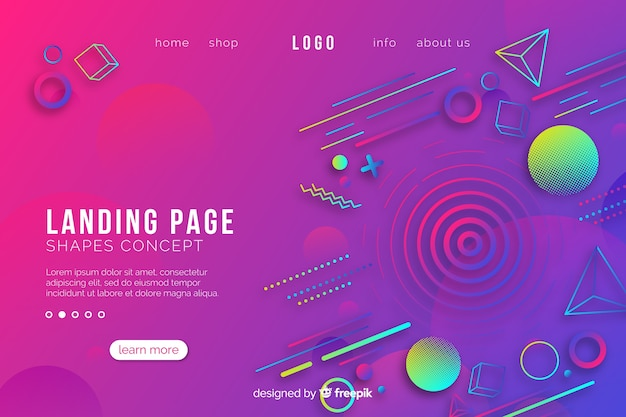 Geometric shapes landing page template