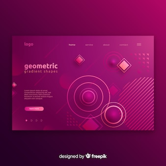 Geometric shapes landing pages in gradient