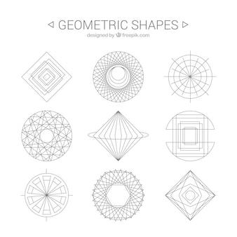 Geometric shapes line art
