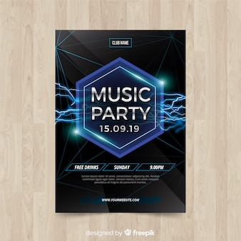 Geometric shapes music party poster