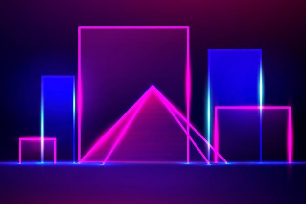 Геометрические фигуры неоновые огни дизайн фона