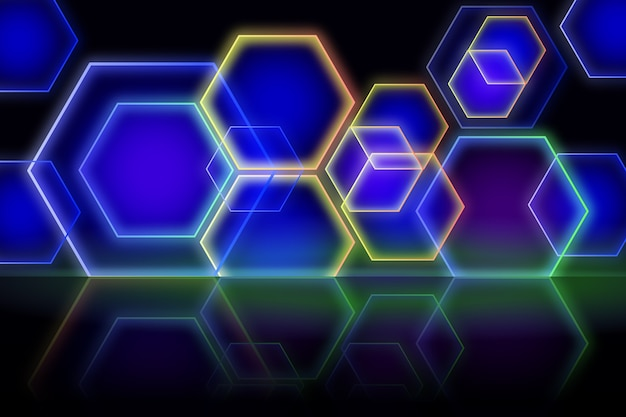 Geometric shapes neon lights background design