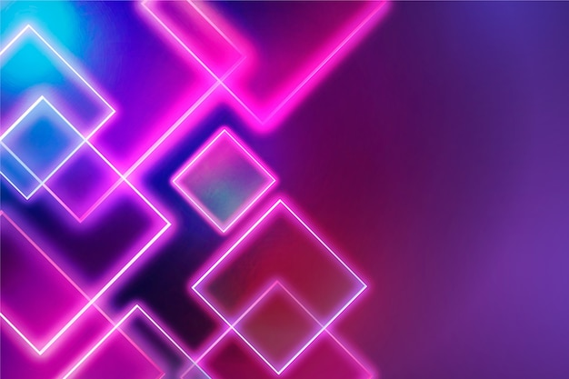 Geometric shapes neon lights background