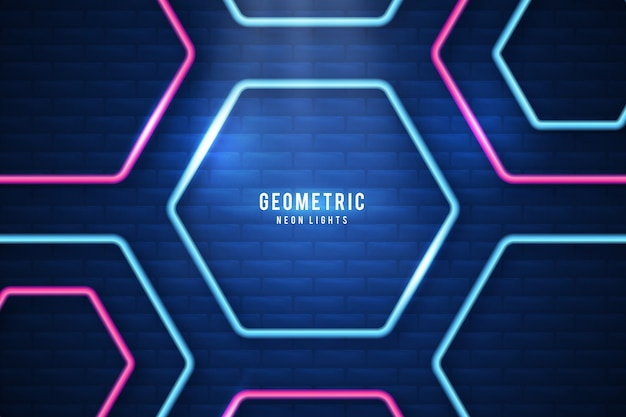Geometric shapes neon lights screensaver