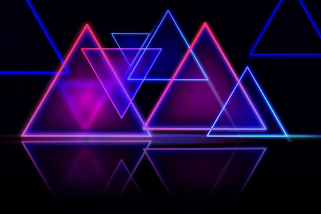 Geometric shapes neon lights wallpaper design