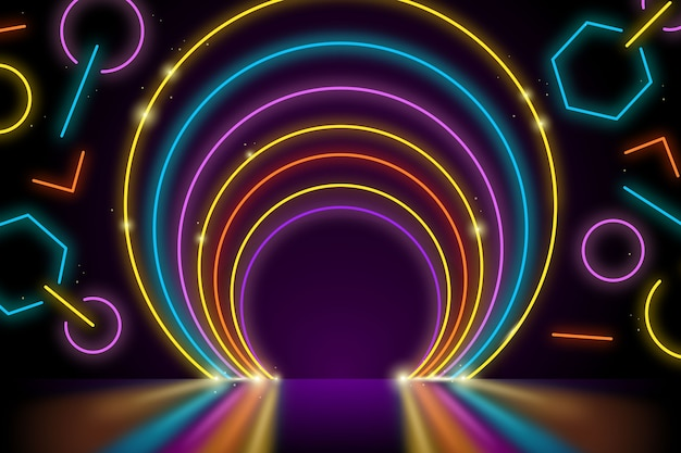 Geometric shapes neon lights wallpaper