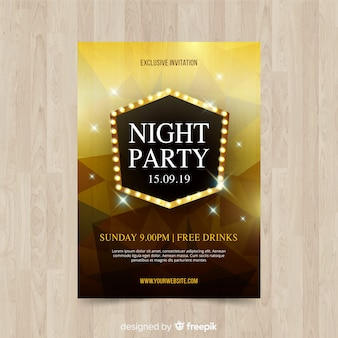 Geometric shapes night party poster