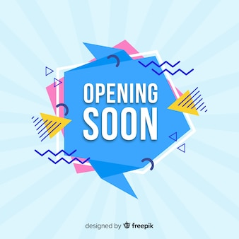 Geometric shapes opening soon background