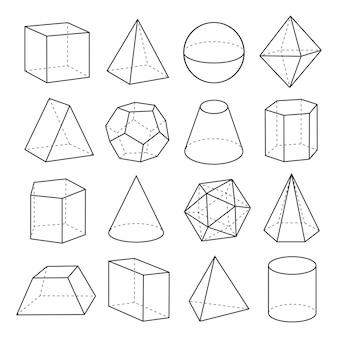 Geometric shapes outline set
