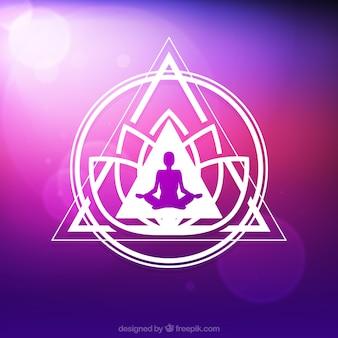 Geometric shapes purple yoga background