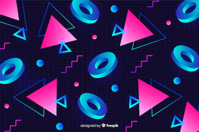 Geometric shapes retro background