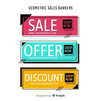 Geometric shapes sales banner pack