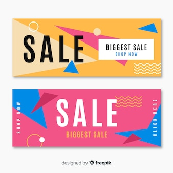 Geometric shapes sales banner template