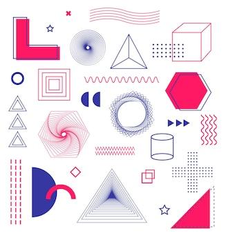 포스터 전단지 잡지 배너 광고 판 판매를위한 멤피스 디자인 요소의 기하학적 모양 세트