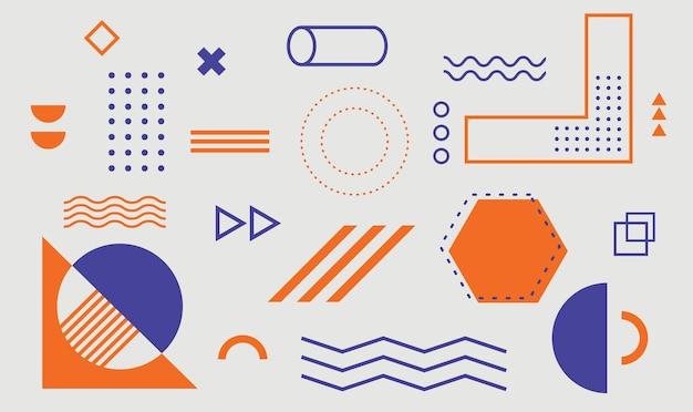Геометрические фигуры набор элементов дизайна мемфис для плаката, буклета, журнала, баннера, рекламного щита