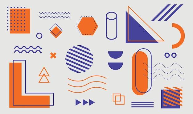 포스터 전단지 잡지 배너 광고판에 대한 멤피스 디자인 요소의 기하학적 모양 세트