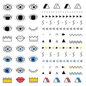 Geometric shapes set with eyes in 80s style. memphis  graphic elements on white background. set includes triangle, lips, crown, border in line design.