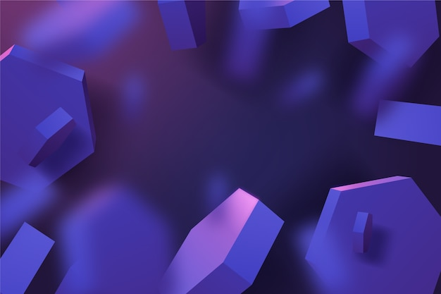 Geometric shapes in shiny violet tones 3d background