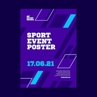 Geometric shapes sport event poster template