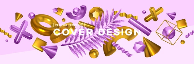 Geometric shapes trendy objects header with golden violet cross cone palm leaf