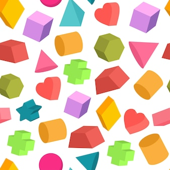 Geometric shapes vector cartoon seamless pattern on a white background.