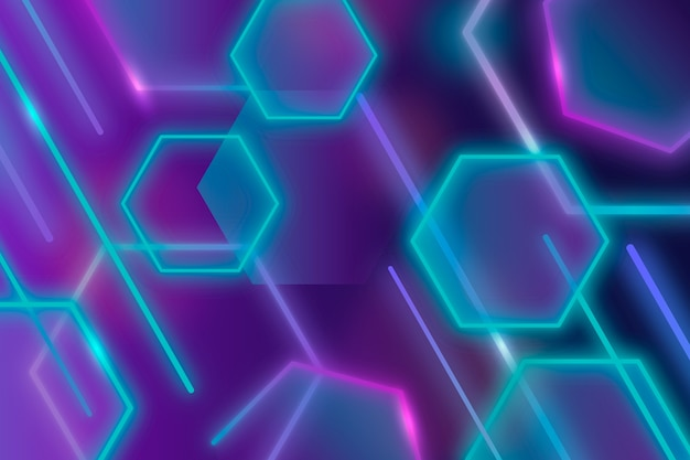 Geometric shapes violet blue lights background