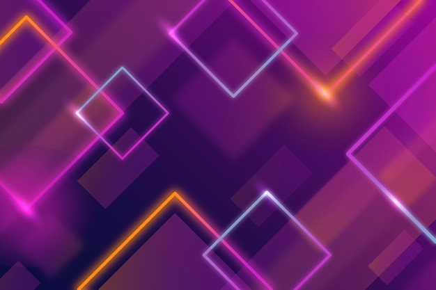 Geometric shapes violet neon lights background