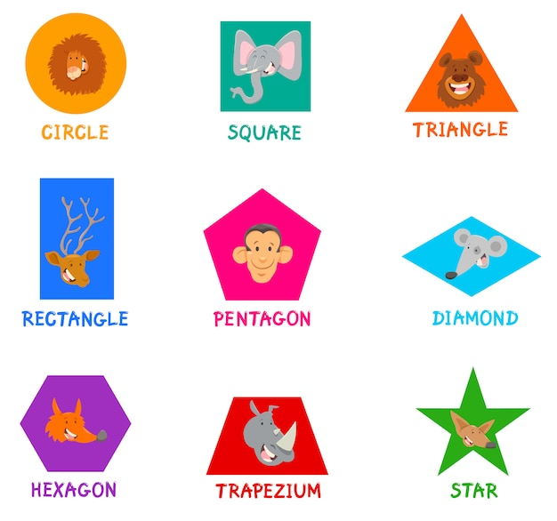 Geometric shapes with cute animal characters