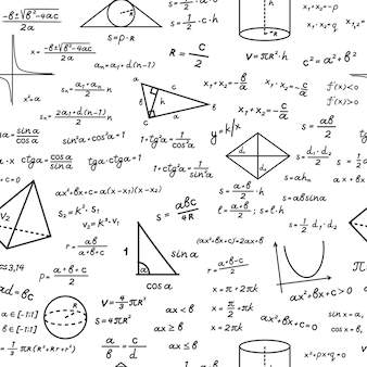 Geometric shapes with mathematical formulas seamless pattern. handwritten algebraic calculations on white surface trigonometric with computation education drawings basic theorem. vector knowledge.